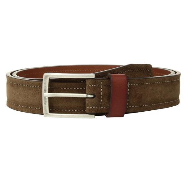 ベルト ジョンストンアンドマーフィー Loop Brown Suede Belt Leather & メンズ アクセサリー