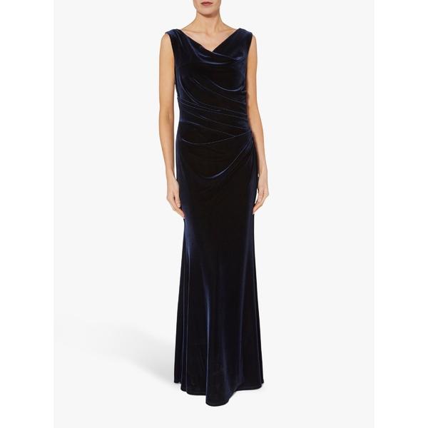 ジーナバッコーニ Dress ワンピース Maxi レディース Navy Gina Velvet トップス Ramona Bacconi