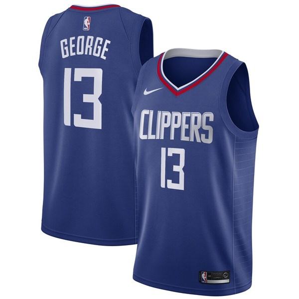 ナイキ メンズ ユニフォーム トップス Paul George LA Clippers Nike 2019/20 Swingman Jersey Blue Icon Edition