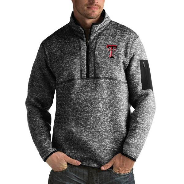 アンティグア メンズ ジャケット&ブルゾン アウター Texas Tech Red Raiders Antigua Fortune Big & Tall Quarter-Zip Pullover Jacket Black