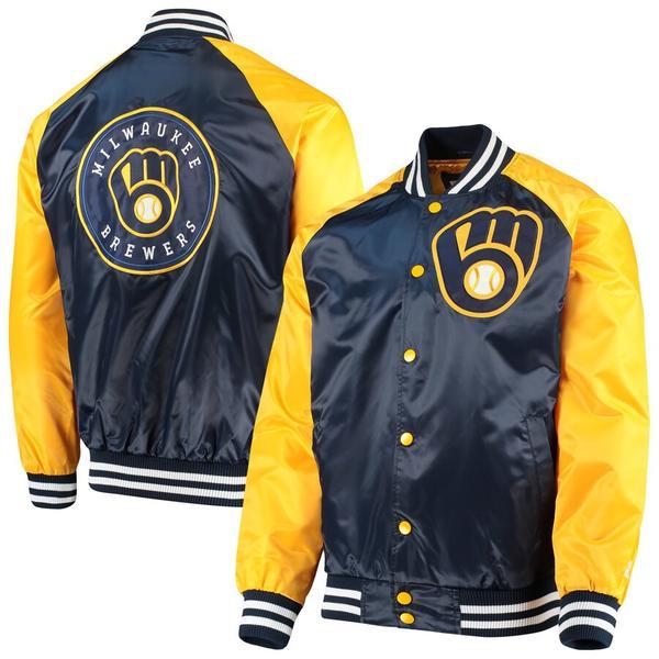スターター メンズ ジャケット&ブルゾン アウター Milwaukee Brewers Starter The Lead Off Hitter Full-Snap Jacket Navy/Gold