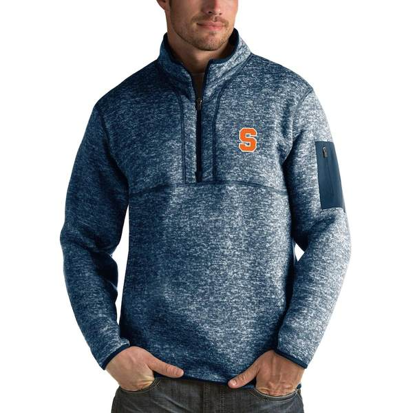 アンティグア メンズ ジャケット&ブルゾン アウター Syracuse Orange Antigua Fortune 1/2-Zip Pullover Sweater Heathered Navy