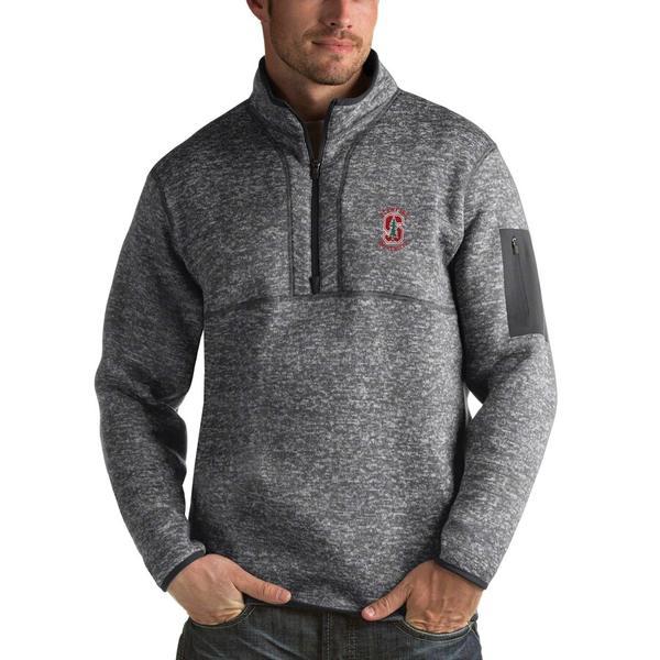 アンティグア メンズ ジャケット&ブルゾン アウター Stanford Cardinal Antigua Fortune 1/2-Zip Pullover Sweater Heathered Charcoal