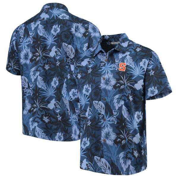 トッミーバハマ メンズ シャツ トップス Syracuse Orange Tommy Bahama Fuego Floral Silk Camp Shirt Blue