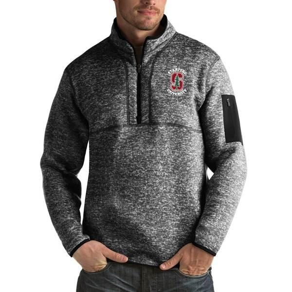 アンティグア メンズ ジャケット&ブルゾン アウター Stanford Cardinal Antigua Fortune Big & Tall Quarter-Zip Pullover Jacket Black