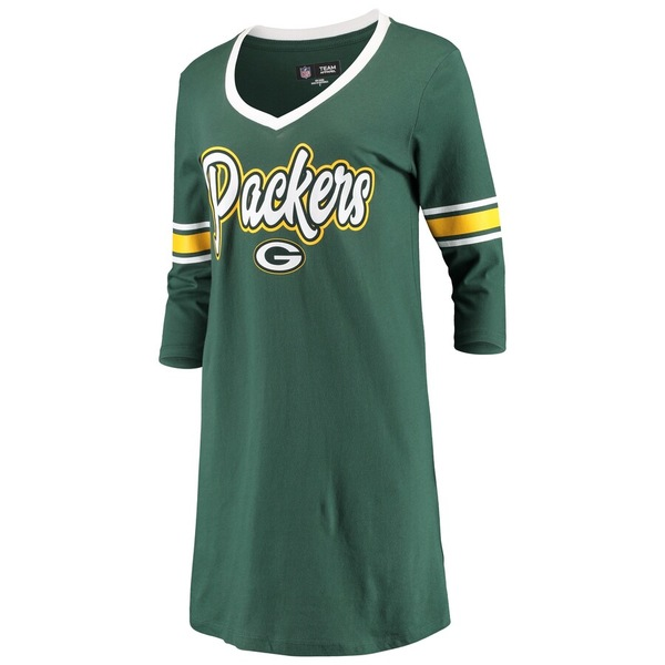 ニューエラ レディース ワンピース トップス Green Bay Packers New Era Women's Athletic V-Neck Dress Green