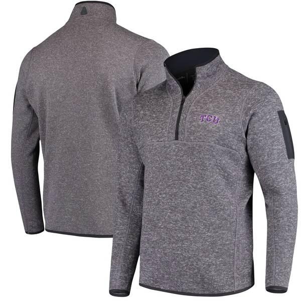 アンティグア メンズ ジャケット&ブルゾン アウター TCU Horned Frogs Antigua Fortune 1/2-Zip Pullover Sweater Heathered Charcoal