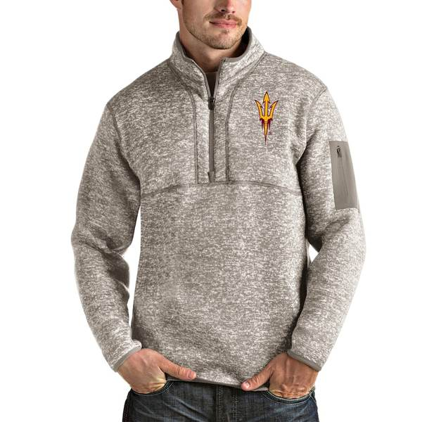 アンティグア メンズ ジャケット&ブルゾン アウター Arizona State Sun Devils Antigua Fortune Half-Zip Pullover Jacket Oatmeal