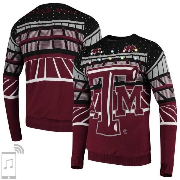 フォコ メンズ シャツ トップス Texas A&M Aggies College Bluetooth Light Up Sweater Maroon