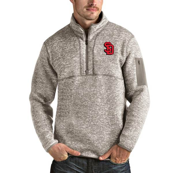 アンティグア メンズ ジャケット&ブルゾン アウター South Dakota Coyotes Antigua Fortune Half-Zip Pullover Jacket Oatmeal