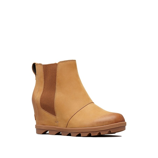 ソレル レディース ブーツ&レインブーツ シューズ Joan II Waterproof Leather Wedge Chelsea Boots Camel Brown