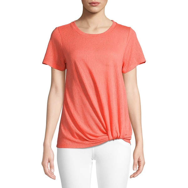 NWT Women/'s TANGERINE Heather Grey V-Neck Twist Front Shirt Size SMALL S