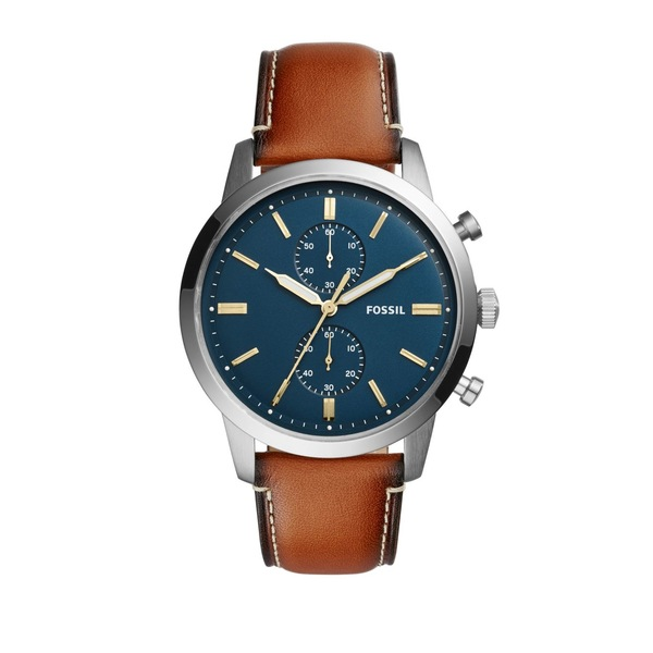 フォッシル メンズ 腕時計 アクセサリー Grant Sport Stainless Steel & Leather Strap Chronograph Watch Brown