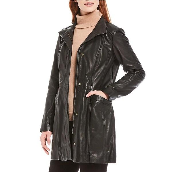 憧れの コールハーン レディース コート アウター Stand Collar Snap Front Lambskin Leather Car Coat Black, ちかもんくん さつまいも aa9f29f8