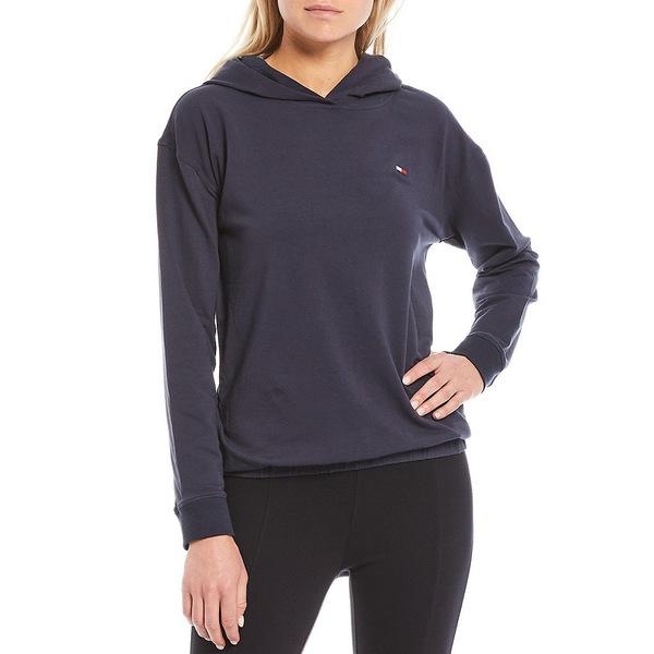 トミー ヒルフィガー レディース アウター 評価 ジャケット 即出荷 ブルゾン Navy 全商品無料サイズ交換 Elastic Sweatshirt Sport Waist Shoulder Drop Hooded