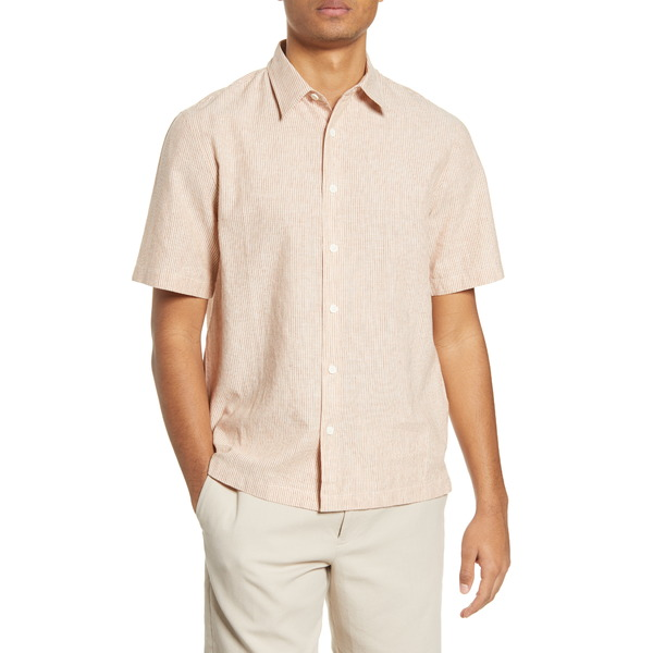 クラブ モナコ メンズ シャツ トップス Stripe Short Sleeve Chambray Button-Up Shirt Banana Cream