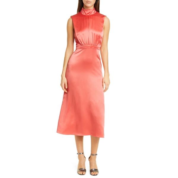 サローニ レディース ワンピース トップス Fleur Split Back Silk Satin Dress Melon - 294