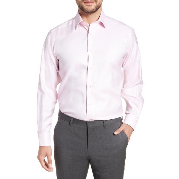 デイビッドドナヒュー メンズ シャツ トップス Regular Fit Solid Dress Shirt Pink