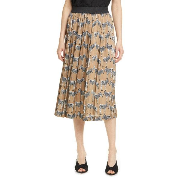 ヘレンベーマン レディース スカート ボトムス Zebra Lace Trim Pleated Skirt Camel Zebra