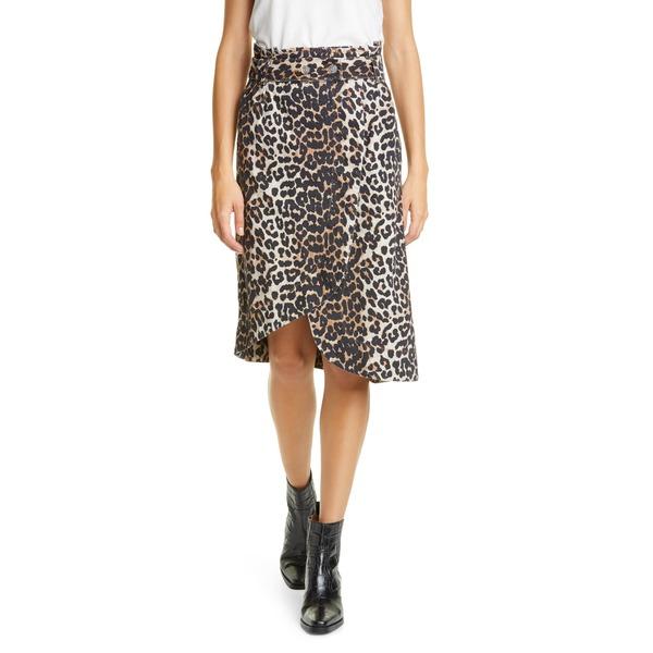 ガニー レディース スカート ボトムス Leopard Print Asymmetrical Denim Wrap Skirt Leopard