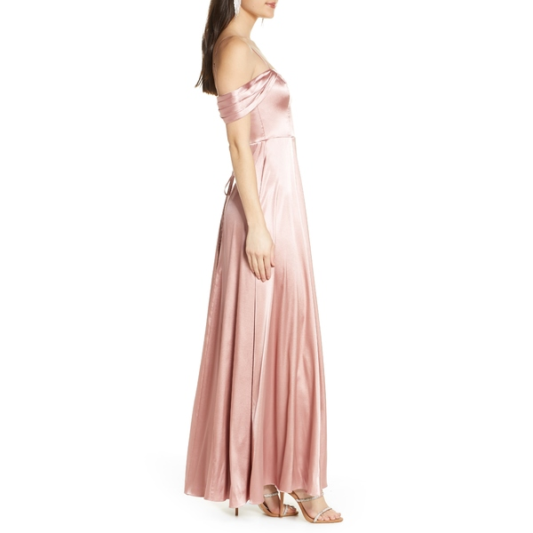 セクインハーツ レディース ワンピース トップス Cold Shoulder Satin Evening Gown RoseX8nOk0wP