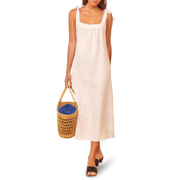 リフォメーション レディース ワンピース トップス Bronte Long Linen Dress White