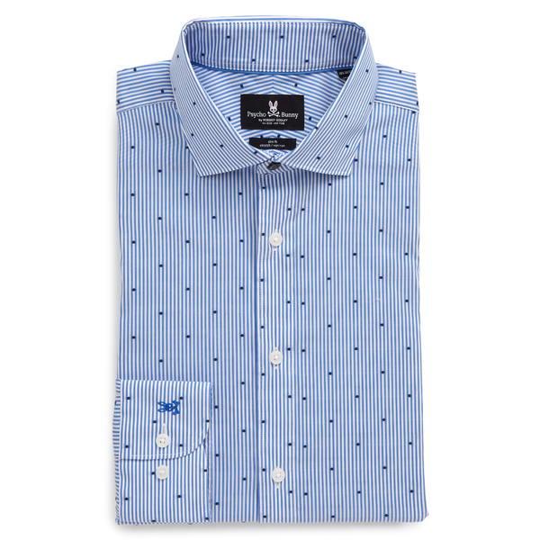 サイコバニー メンズ シャツ トップス Slim Fit Stretch Stripe Dress Shirt Blue