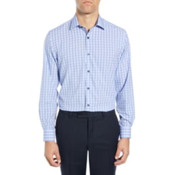 ダブリューアールケー メンズ シャツ トップス Trim Fit Performance Stretch Check Dress Shirt Blue