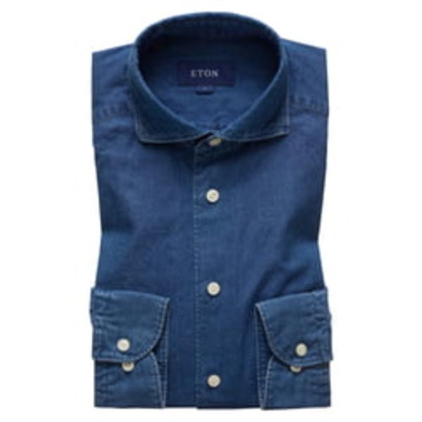 エトン メンズ シャツ トップス Soft Casual Line Contemporary Fit Chambray Shirt Blue
