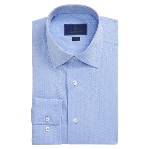 デイビッドドナヒュー メンズ シャツ トップス Trim Fit Floral Dress Shirt Blue