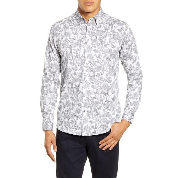テッドベーカー メンズ シャツ トップス Youcan Bold Slim Fit Floral Button-Up Shirt White