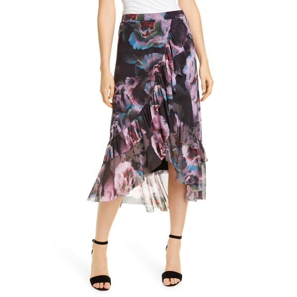 フィッジ レディース スカート ボトムス Floral Ruffle Asymmetrical Mesh Skirt Nero