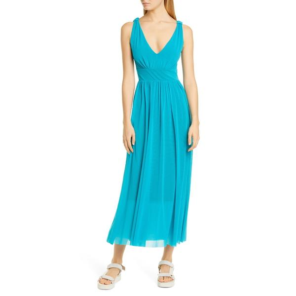 フィッジ レディース ワンピース トップス V-Neck Mesh Midi Dress Turquoise