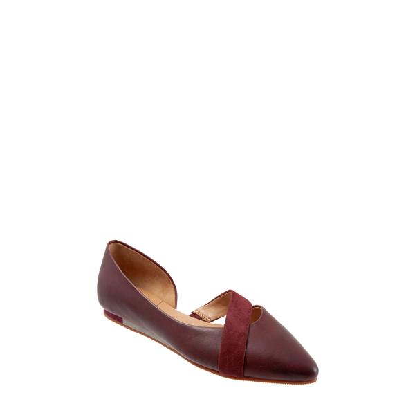 セーブ レディース サンダル シューズ Lennox d'Orsay Flat Dark Red Leather