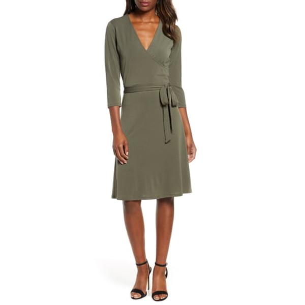 レオタ レディース ワンピース トップス Print Jersey Faux Wrap Dress Crepe Knit Peat Moss