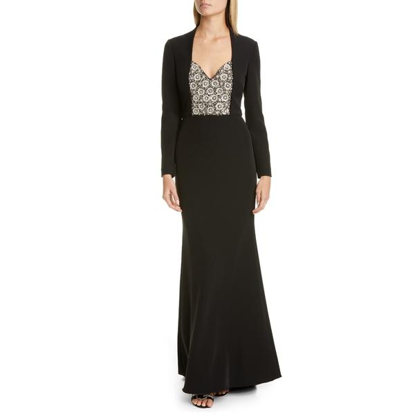 バッドグレイミッシカ レディース ワンピース トップス Badgley Mischka Long Sleeve Embellished Gown Black