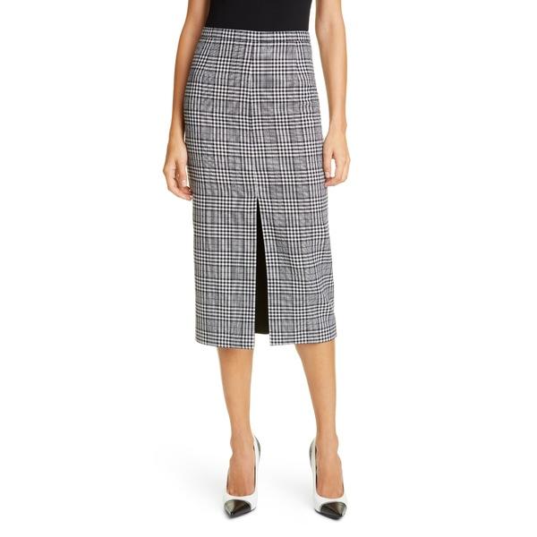 マイケル コース レディース スカート ボトムス Michael Kors Slit Plaid Wool Pencil Skirt Black/ White