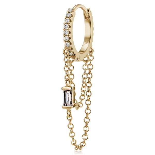 マリア・タッシュ レディース ピアス&イヤリング アクセサリー Baguette Diamond Double Chain Eternity Earring Yellow Gold/ Diamond