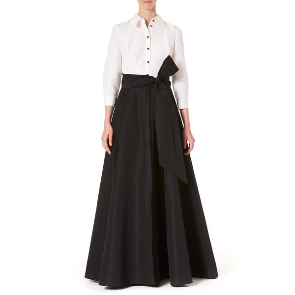 キャロライナヘレラ レディース ワンピース トップス Icon Two-Tone Taffeta Trench Gown White/ Black