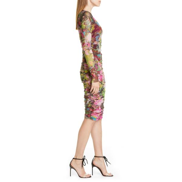 フィッジ レディース ワンピース トップス Floral Ruched Long Sleeve Dress BiliardoWIeEDH29bY