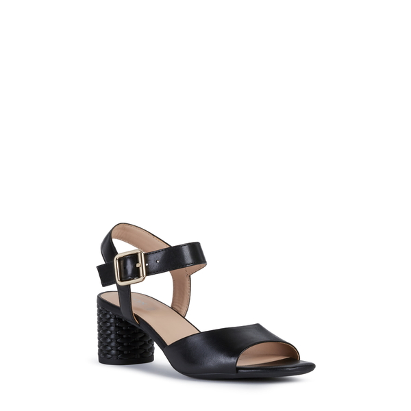 ジェオックス レディース サンダル シューズ Ortensia Block Heel Sandal Black Leather