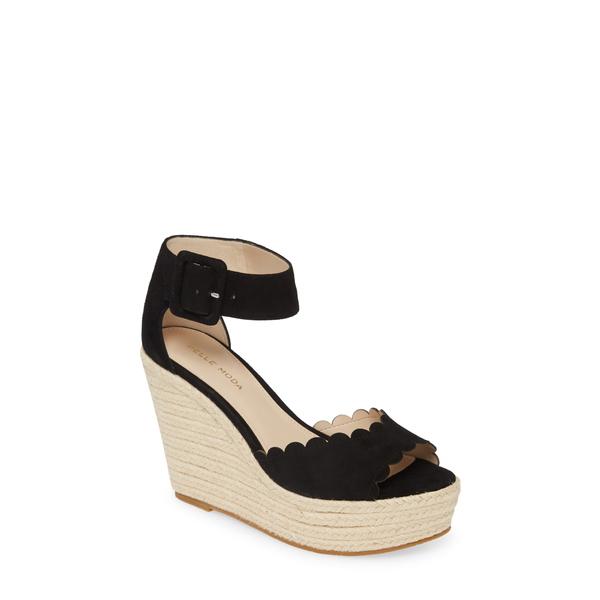 ペレモーダ レディース サンダル シューズ Rica Platform Wedge Sandal Black Suede