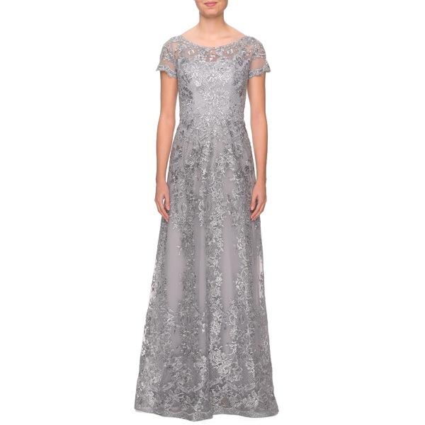 ラフェム レディース ワンピース トップス Shimmer Lace Gown Silver