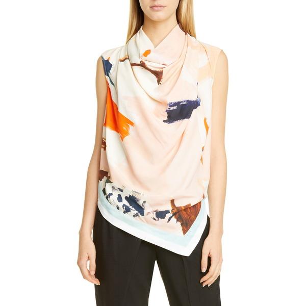 プロエンザショラー レディース シャツ トップス Abstract Print Cowl Neck Blouse Pink/ Jade Abstract Paint