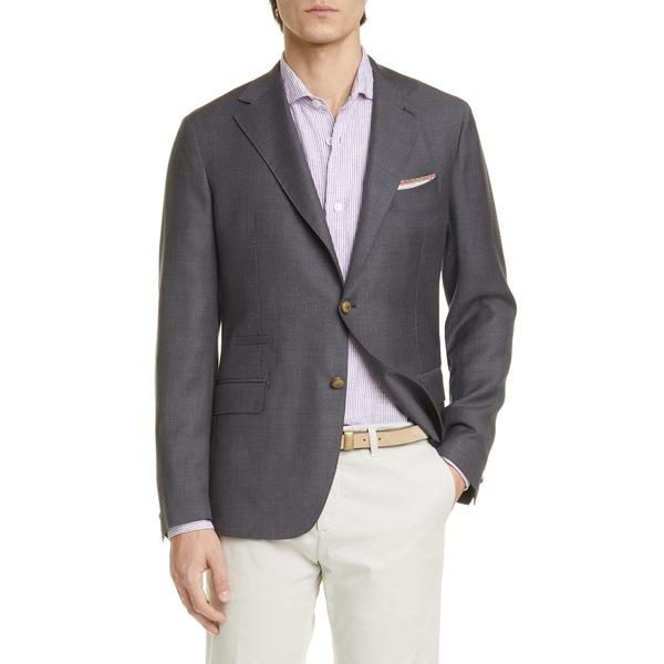 イレブンティ メンズ ジャケット&ブルゾン アウター Trim Fit Solid Wool Blazer Grey