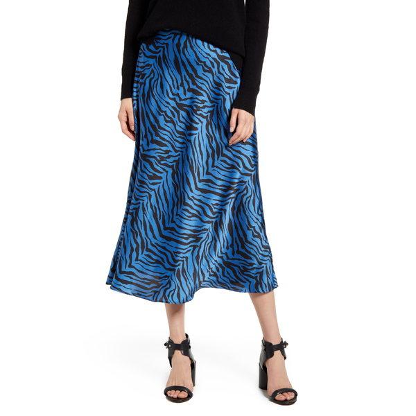 レベッカミンコフ レディース スカート ボトムス Davis Leopard Print Midi Skirt Sapphire