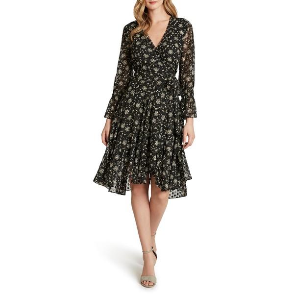 タハリ レディース ワンピース トップス Floral Dot Chiffon Long Sleeve Faux Wrap Dress Black Ivory Disty Floral
