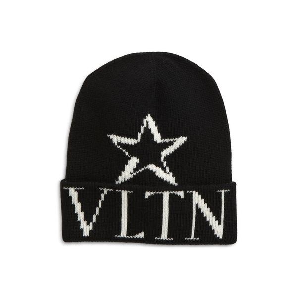 ヴァレンティノ メンズ 帽子 アクセサリー VLTN Wool & Cashmere Beanie Black
