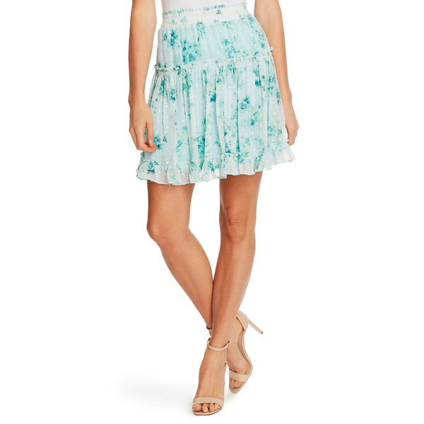 セセ レディース スカート ボトムス Breezy Bouquet Clip Dot Ruffle Hem Skirt Cool Aqua