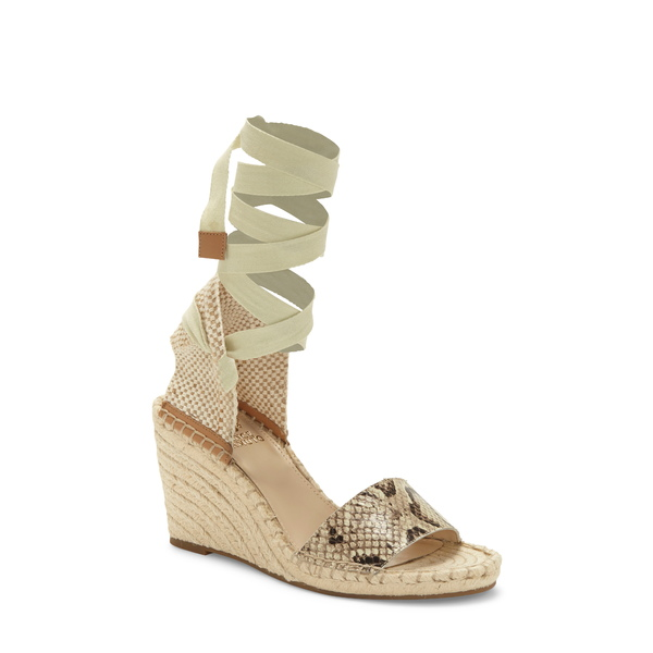 ヴィンスカムート レディース サンダル シューズ Levernta Lace-Up Platform Sandal Oatmeal Snake Print Leather